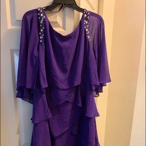 SLNY tiered purple dress with rhinestone detail.